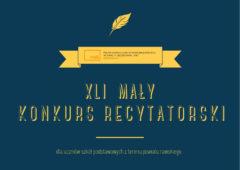 Plakat: XLI Mały Konkurs Recytatorski