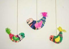 Zdjęcie: Świetlica Artystyczna. Ptaszki z tektury w jesiennych ubrankach